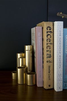 Faux Gold Bookends made from PVC pipes! (click through for the full tutorial!)