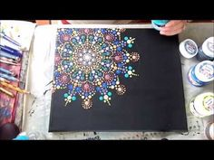 How to paint dot mandalas on canvas--- Színpompás mandala festése vászonra - YouTube