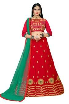Red Embroidered Silk Blend Lehenga Choli With Dupatta Red Lehenga, Lehenga Choli, Lehenga Online Shopping, Navratri Special, Embroidered Silk, Amazing Women, Two Piece Skirt Set, Celebrities, How To Wear