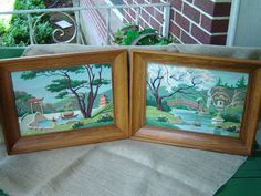 Vintage Paint By Number Framed Pictures Japanese Japan Scenes 1960s
