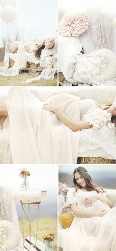This lovely, feminine maternity session exudes a dreamy, romantic feeling with a mountain backdrop and plenty of ruffles, lace, pastels and even some straw!