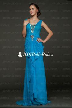 Robe de soirée classique en mousseline bleu avec strass très chic