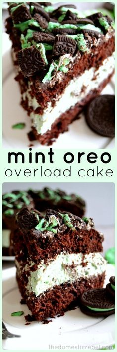 Mint Oreo Overload Cake - a thick and moist chocolate two-layer cake filled with a light and creamy mint whipped filling and topped with crushed Mint Oreos! #mint #oreo #cake