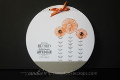 a new greeting card design using orange and grey for a color scheme (www.shortcakescraps.com)