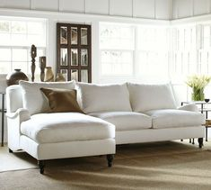 Carlisle 2-Piece Upholstered Sectional with Chaise | Pottery Barn ( Metal Gray Linen Cotton Blend)