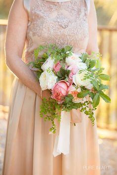 Lynn & Jay's Backyard Wedding / Wedding Planning: Lindsay Bishop Events / Photography: Pure in Art Photography / Florals: Urban Stems #tucsonwedding #backyardwedding #desert #weddingphotography #bhldn #champagnedress #pinkgardenbouquet #peonies #laceweddingdress