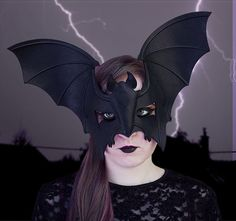 Bat Mask in Black Leather by TomBanwell on Etsy, $125.00