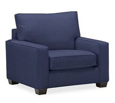 PB Comfort Square Arm Grand Armchair Slipcover, Box Edge, Performance Tweed Navy