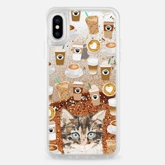 kitten with coffee must have gifts for cat lady transparent iPhone cases for cat lovers - Snap Case