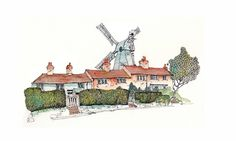 This huge windmill towers over Cranbrook, its an impressive sight. We climbed up inside, up the narrowest and steepest steps, and watched t. Pen And Watercolor, Watercolor Illustration, Watercolor Paintings, Travel Sketchbook, Art Sketchbook, Chris Lee, Building Sketch, Watercolor Architecture, Urban Sketchers