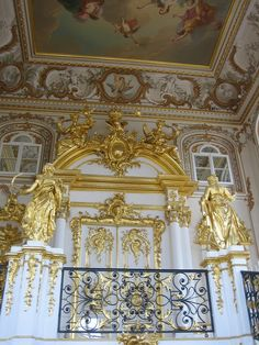 https://flic.kr/p/8eKiJA | Interior, Grand Palace, Peterhof, St. Petersburg, Russia | Like the Catherine Palace, the Peterhof Grand Palace in St. Petersburg, Russia was destroyed during the second world war and was beautifully restored afterwards. The interior is ornate and golden, similar to other palaces we saw in St. Petersburg, Russia.