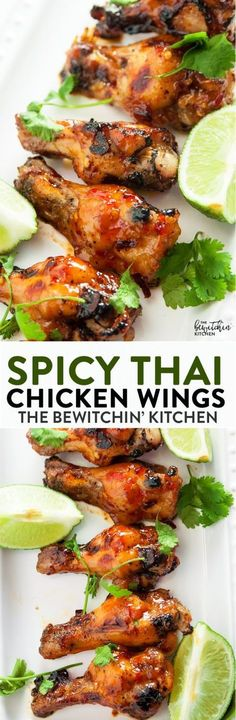 Spicy Thai Chicken Wings - a sweet twist on hot wings using thai chili sauce, limes, sriracha and a few other secret ingredients. A new favorite appetizer for the game, tailgating or a party.