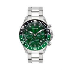 Ανδρικό ρολόι LE DOM LD.1481-3 Eternal με πράσινο καντράν, χρονογράφο, multifunction με μπρασελέ | Ανδρικά ρολόγια Le Dom ΤΣΑΛΔΑΡΗΣ στο Χαλάνδρι #LeDom #Eternal #ρολοι #tsaldaris Rolex Watches, Accessories, Ornament
