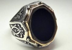 925 Sterling Silver Totally Handmade Men's Ring with Real