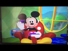 From the beginning of Mickey's Silly Problem. Mickey greets the viewer while he sits on a chair, holding a book. Mickey Mouse Clubhouse, House Ideas, Make It Yourself, Disney Characters, Youtube, Youtubers, Youtube Movies