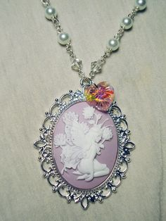 Lavender fairy cameo necklace