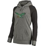 #NFLShop.com - #NFLShop.com Women's Philadelphia Eagles NFL Pro Line by Fanatics Branded Gray/Black Throwback Logo Tri-Blend Raglan Plus Size Pullover Hoodie - AdoreWe.com