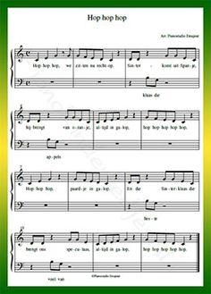 Hop hop hop, paardje in galop - Gratis bladmuziek van kinderliedjes in eenvoudige zetting voor piano. Piano leren spelen met bekende liedjes.
