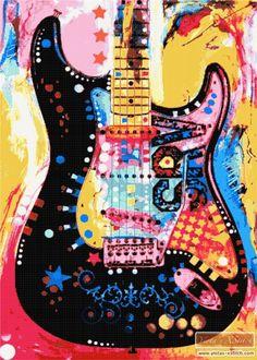 Guitar cross stitch kit