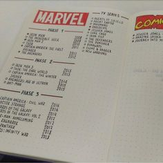 Marvel bullet journal