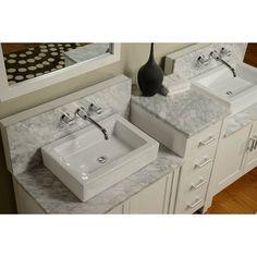 Horizon 84-inch Pearl White/ Carrera Marble Double Bathroom Vanity Sink Console | Overstock™ Shopping - Great Deals on Bathroom Vanities