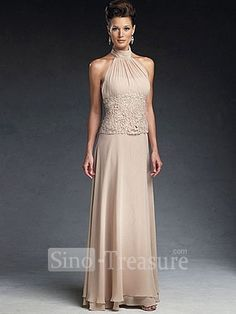 Light Champange Satin/Chiffon/Lace Halter Ruffle Column Floor-length Mother of the Bride Dress -Wedding & Events-Wedding Party Dresses-Mother of the Bride Dresses-Floor-length Mother Dresses:
