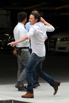 James McAvoy on the set of his new movie 'The Disappearance of Eleanor Rigby' in Manhattan