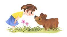 Girl And Bear Say Hello