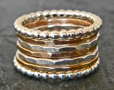 Thin Stacking Rings - Gold Stacking Rings - Mixed Metal Stacking Rings - Beaded Ring - Gold and Silver Ring - Gold Fill - Ring Sizes 5 - 15