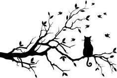 Black Ink Cat Sitting On Tree Tattoo Design