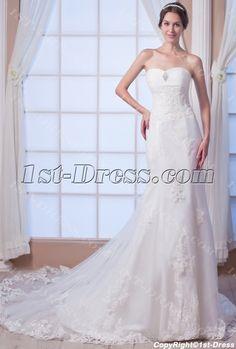 Sheath Destination Bridal Gown with Corset:1st-dress.com