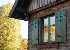 Okno z okiennicami - dom z bala Architectural Antiques, Shutters, Cabins, Cottages, Polish, House Design, Windows, Country, Inspiration