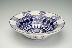 Rim Pasta Bowl Blue and White Hand Painted by owlcreekceramics