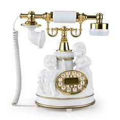 LNC White Angles Statue LNC Retro Vintage Antique Style Push Button Dial Desk Telephone Phone Home Living Room Decor