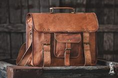 Leather Messenger Bag 15 / Air Plane Cabin Bag / by EpicLinen