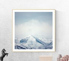 Minimalist Photography, Printable Art, Wall Decor Abstract Mountains, Clouds, Blue, Gray, Landscape Photography, Modern Printable Art,