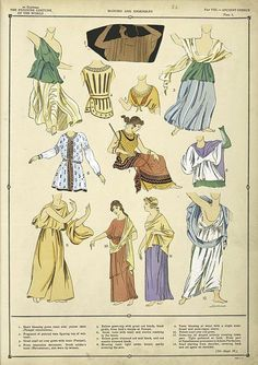 The history of the feminine costume: Vol. II, part VIII – Ancient Greece, pl. 3 (Blouses and ensembles) Ancient Greek Dress, Ancient Greek Clothing, Ancient Greece Fashion, Greek Traditional Dress, Greek Fashion, Roman Fashion, Roman Clothes, Rome Antique, Hellenistic Period