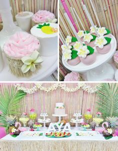 Hawaiian Birthday Party via Kara's Party Ideas #hawaiian #luau #party #planning #ideas #supplies #cake #decorations
