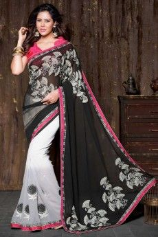 Black and white chiffon georgette saree with pink blouse   http://www.andaazfashion.co.uk/womens/sarees/black