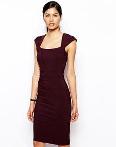 Vesper+Valentina+Pencil+Dress+with+V+Detail
