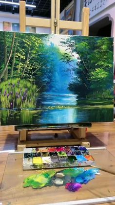 Canvas Painting Tutorials, Diy Canvas Art, Watercolor Art Lessons, Art Painting Gallery, Wow Art, Paintings Of Trees, Nature Paintings, Canvas Paintings, Cool Paintings