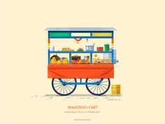 This series is dedicatedto the quint essential pushcarts of India. The supers start on the streets that are ubiquitous on most indian cities yet very understated. From colourful flowers to fresh Vegetables, shaved icegolas to flavourful snack carts that … Indian Illustration, Flat Illustration, Food Illustrations, Food Cart Design, Coffee Artwork, Vietnamese Restaurant, Fire Book, Street Vendor, India Art