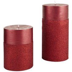 Spun Glitter Pillars - Red (Pier 1 Imports)