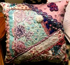 I ❤ crazy quilting, embroidery & beaded . . . Encrusted CQ pillow 054 ~By Bonnie Rogers, bonnietalcott