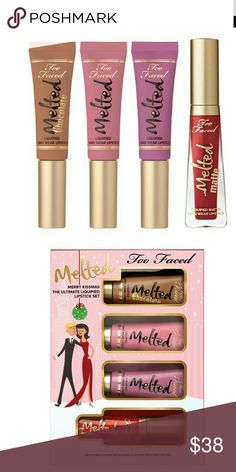 TOO FACED Limited Edition Merry Kissmas Melted Set Too Faced Limited Edition Merry Kissmas Melted Liquified Long Wear Lipstick Set NIB. Includes : CHOCOLATE HONEY MELTED Liquified Long Wear Lipstick Travel Size NIB  CHIHUAHUA Melted Liquified Long Wear Lipstick Travel Size NIB  FIG Melted Liquified Long Wear Lipstick Travel Size NIB  LADY BALLS Melted Matte Liquified Long Wear Lipstick Travel Size NIB  PRICE FIRM UNLESS BUNDLING. NO TRADES! Too Faced Makeup Lipstick