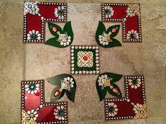Rangoli Acrylic Rangoli Red and Green Diya by JustForElegance