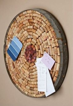 Cork Board with Wine Barrel Ring Border.Where can I get a wine barrel ring? Wine Craft, Wine Cork Crafts, Wine Bottle Crafts, Diy Projects To Try, Craft Projects, Project Ideas, Wine Barrel Rings, Wine Barrels, Wine Cork Art