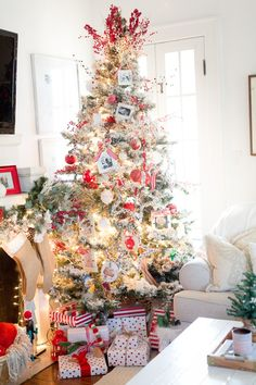 Red and White Traditional Christmas Home Tour (and our Tree in a Basket Trick!) - Amber Tysl