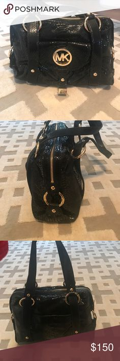 Authentic Michael KORS Black snakeskin bag Super soft! EUC - please see all photos. So much life left in this beautiful bag. Gold hardware. Michael Kors Bags Shoulder Bags