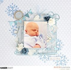 Kaisercraft Peek-a-Boo Layout and Video Tutorial by Alicia McNamara Beach Scrapbook Layouts, Baby Scrapbook Pages, Baby Boy Scrapbook, Scrapbook Layout Sketches, Scrapbooking Layouts, Scrapbook Designs, Kids Pages, Baby Cards, Graphic 45